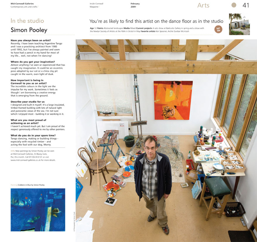 Inside Cornwall Studio - magazine review of artist